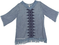 Blue Stone Wash Tunic with Fringe [4580]