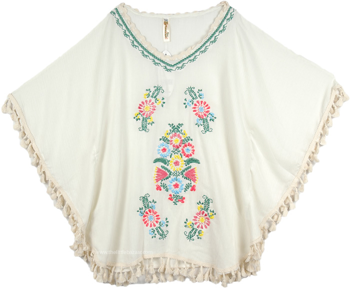 White Tie Dye Poncho Top for Summer, Short Poncho Top in White with Embroidery
