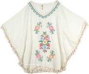 Short Poncho Top in White with Embroidery