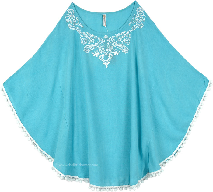 Green Blue Poncho Top for Any Season, Dolman Sleeve Poncho Top in Aquamarine