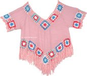 Fringed Top in Pink with Crochet Detail [4584]