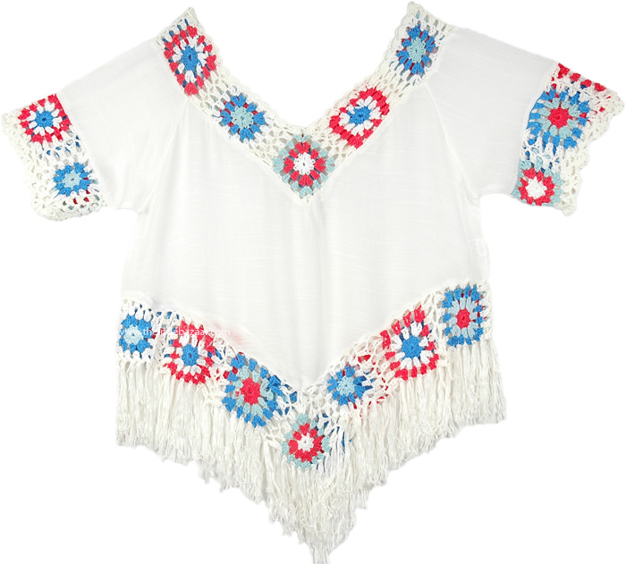 Fringed Top in White with Crochet Detail, White Crop Top with Crochet and Fringe
