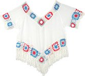 Fringed Top in White with Crochet Detail [4585]