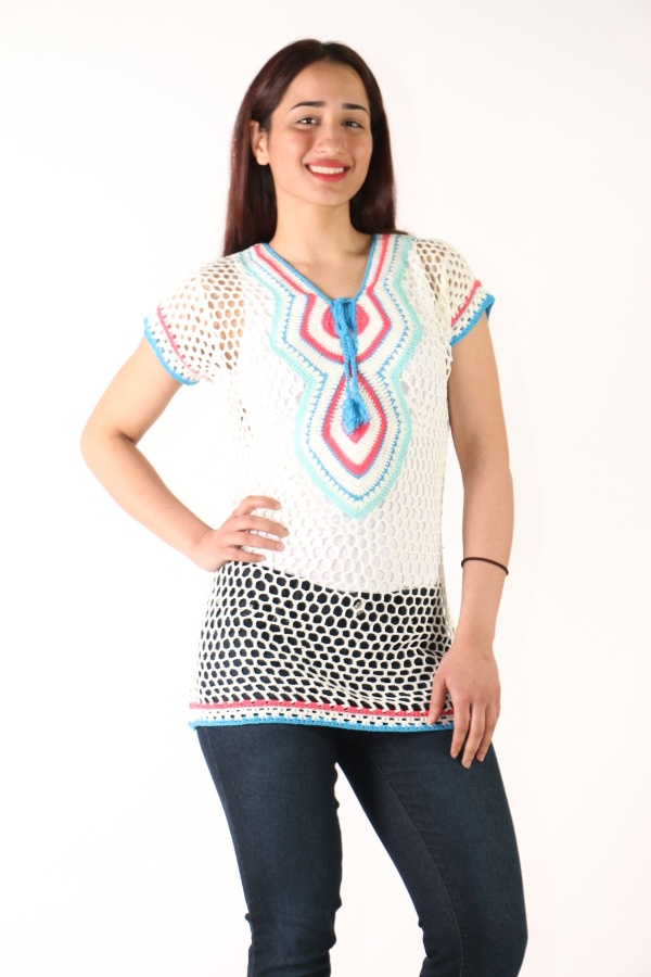 Short Sleeve Lighthearted Crochet Tunic