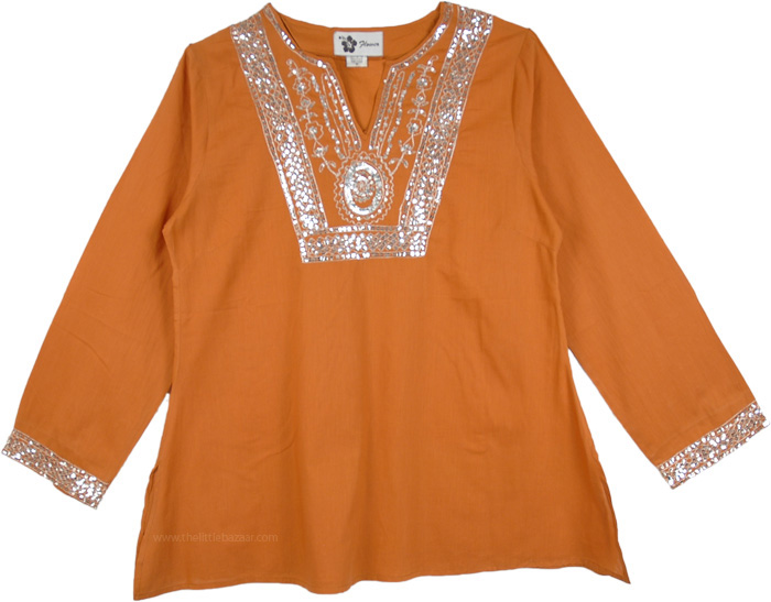 Harvest Full Sleeve Tunic Top with Sequins, Tuscany Ethnic Tunic with Embellished Sparkle