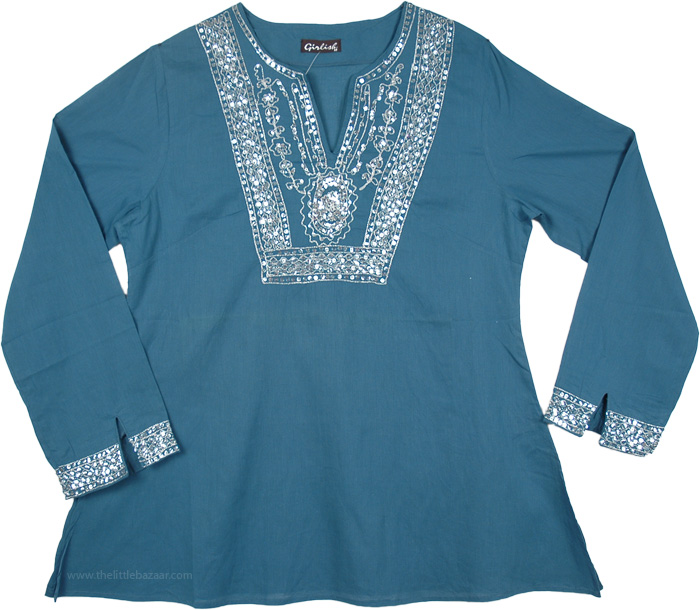Aqua Full Sleeve Tunic Top with Sequins, Teal Tunic with Silver Sequins