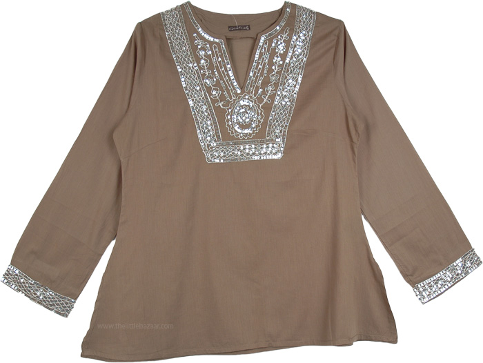 Earthy Tunic Top with Embellished Shine