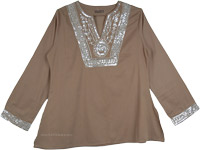 Henna Green Full Sleeve Tunic Top with Sequins [4610]