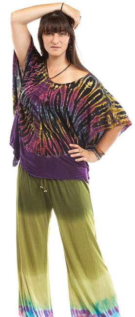 Tie Dyed Woven Sleeveless Tunic Top