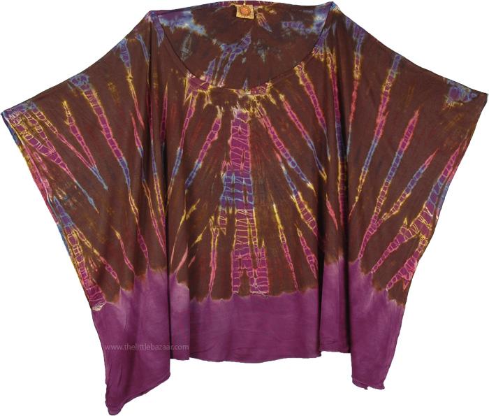 Brown Poncho Top for Any Season, Boho Chic Tie Dye Poncho Top