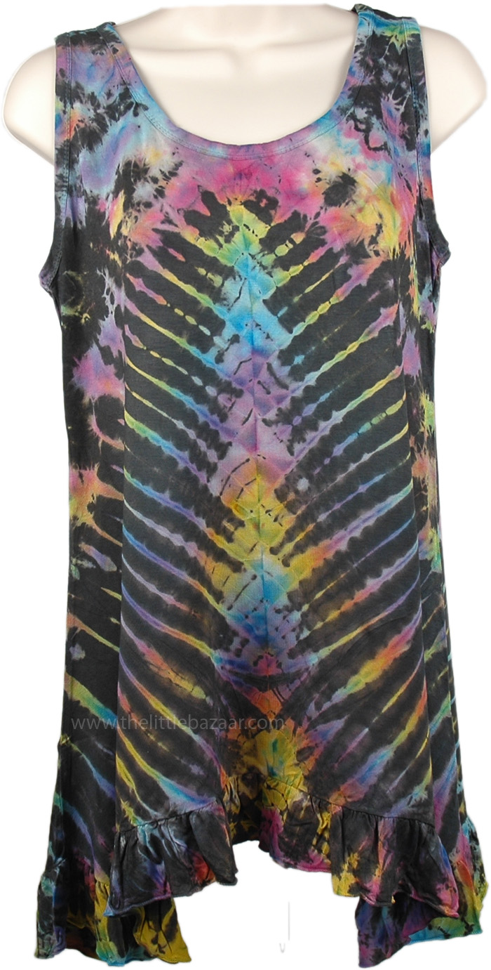 Tunic Length Tank Top with Tie Dye , Tie Dyed Woven Sleeveless Tunic Top