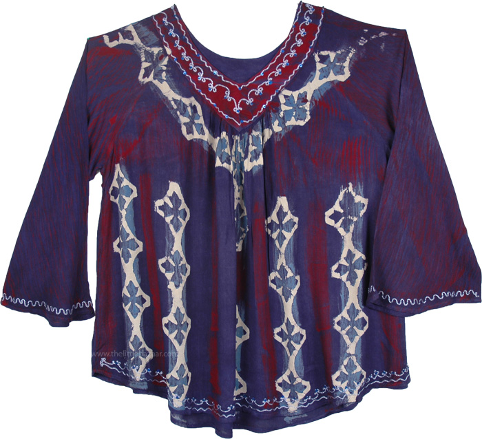 Blue Red Tunic Top with Embroidery, Marble Tie Dye Jacarta Tunic Top