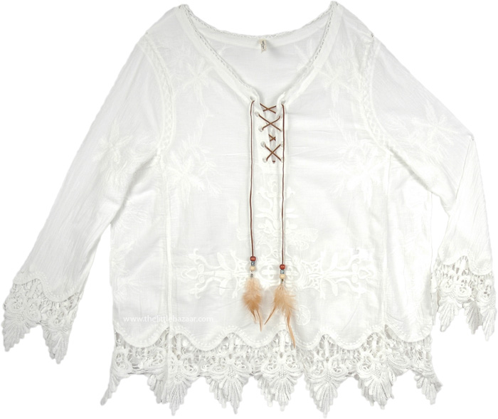 Womens White Top with Embroidery and Lace, Scalloped Lace Hem Dressy White Top