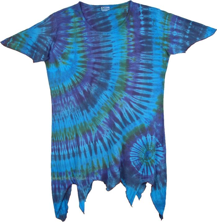 Asymmetrical Tie Dye Top in Gem Blue, Torea Bay Zig Zag Hem Tie Dye Top