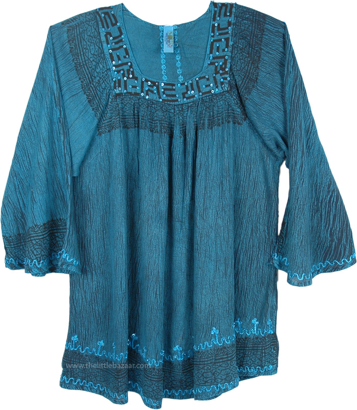 Blue Black Tunic Top with Embroidery, Stonewash Dyed Astral Tunic Top