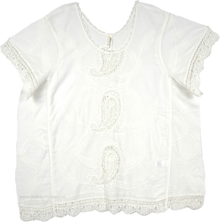 Short Top with Embroidery and Cutwork, Self Embroidered Cutwork White Blouse