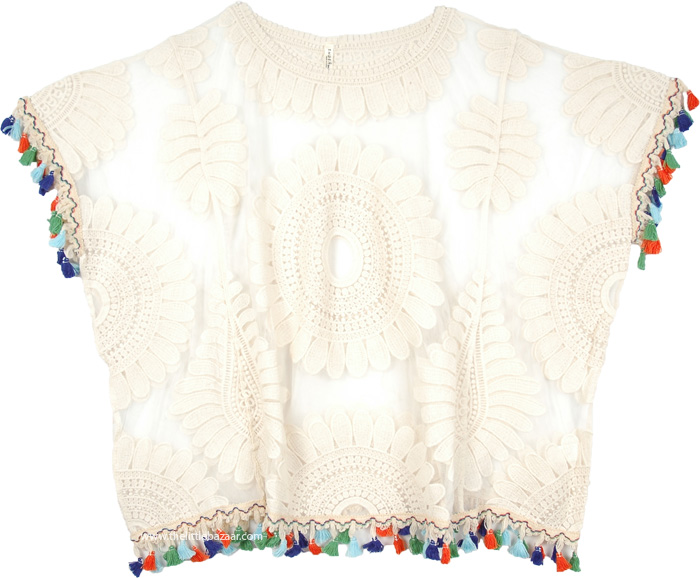 Sexy See Through Biege Top, Embroidered Lace Biege Top with Boho Tassels