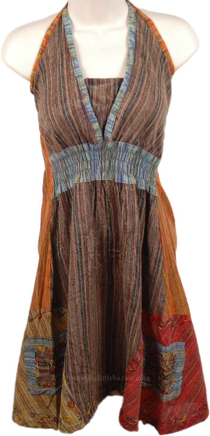 Elastic Bodice Halter Tunic Top, Sultry Halter Top in Earthen Tones