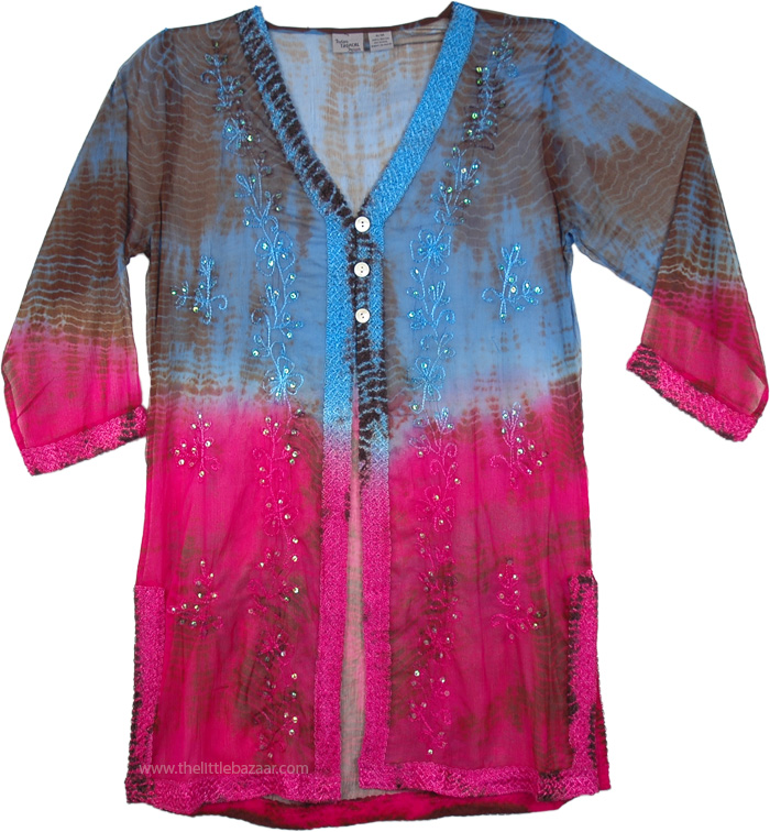 Embroidered Floral Cover in Blue and Pink, Free Spirit Floral Boho Tunic