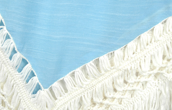 Fringe Boho Crochet Tunic Top in Blue