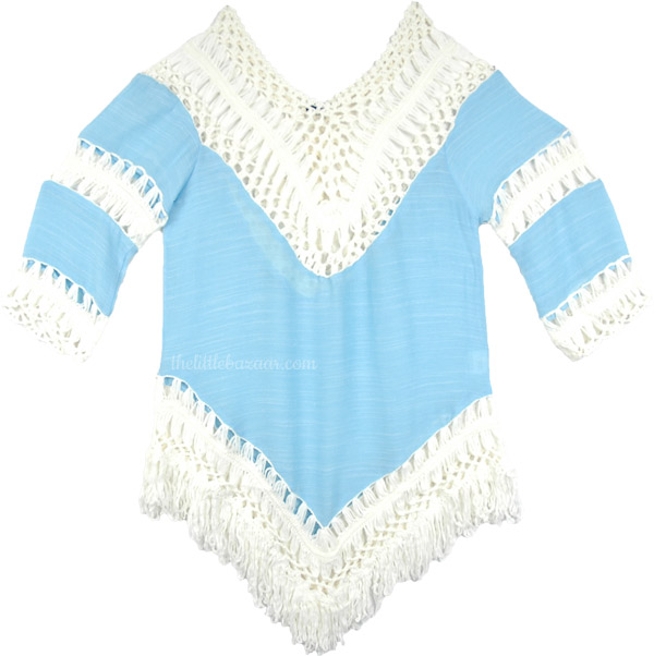 Fringed Top in Blue with Crochet Detail, Fringe Boho Crochet Tunic Top in Blue