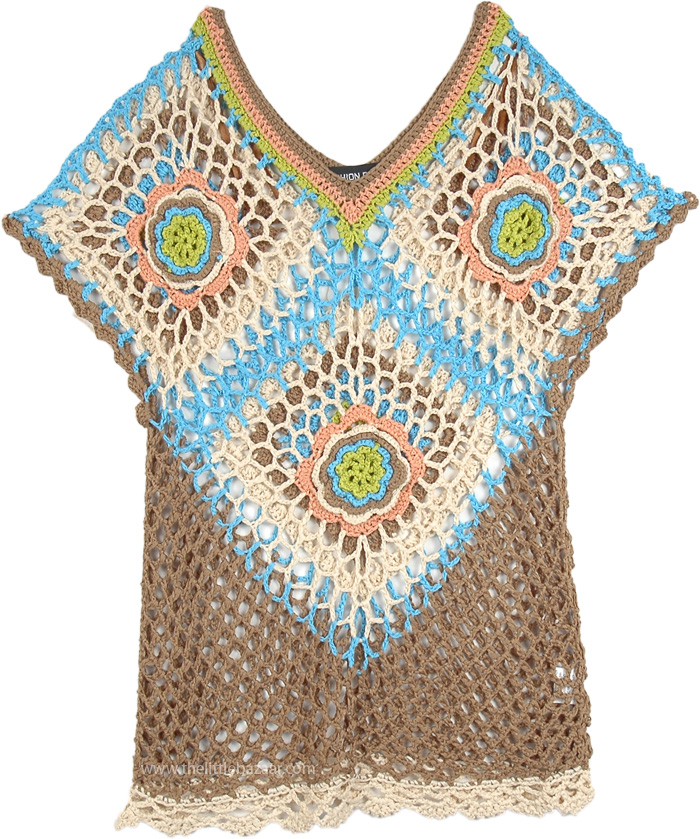 Multicolor Crochet Gypsy Top Fitted, Crochet Net V-Neck Fitted Boho Top