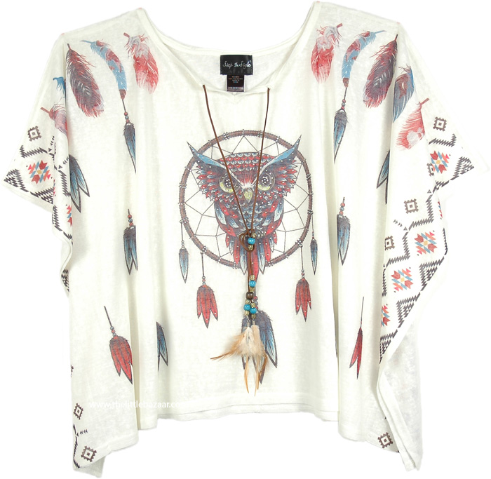 Poncho Top for Summer, Embellished Owl Pattern Poncho Top in White