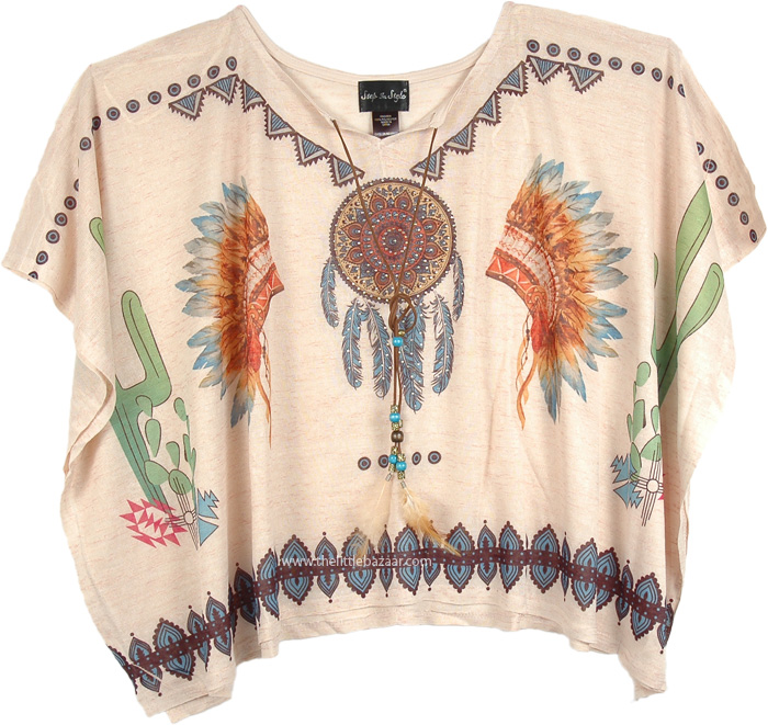Red Indian Poncho Top for Summer, Native American Indian Poncho Top Women