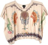 Red Indian Poncho Top for Summer [4776]