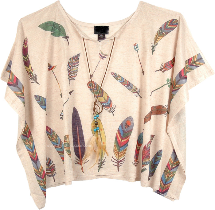 Feather Printed Tunic Top Poncho with Rhintestones, Tribal inspired Top Poncho Style with Feather Print