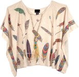 Feather Printed Tunic Top Poncho with Rhintestones [4777]