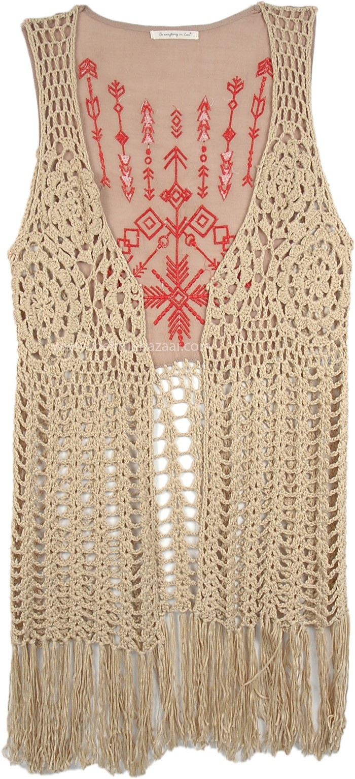 Aztec Embroidered Fringe Vest with Crochet Detail, Quicksand Cowgirl Gypsy Knit Vest with Fringe