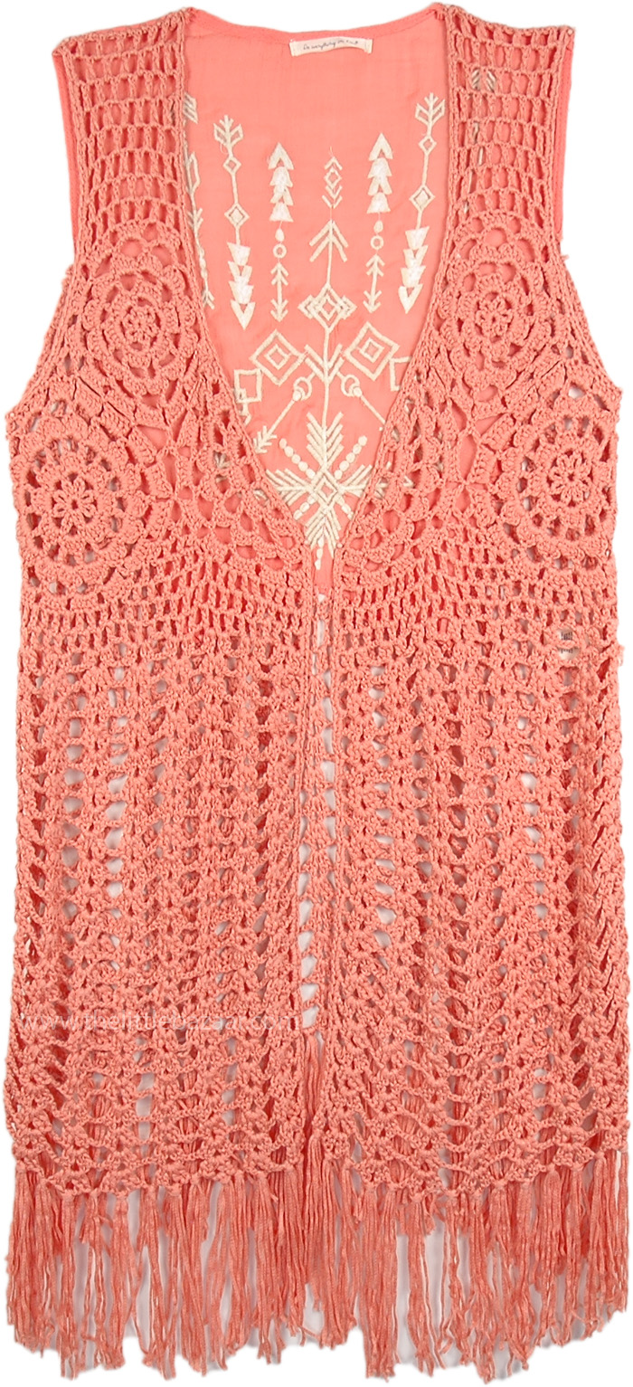 Aztec Embroidered Crochet Fringe Vest In Coral Tunic Shirt Sale