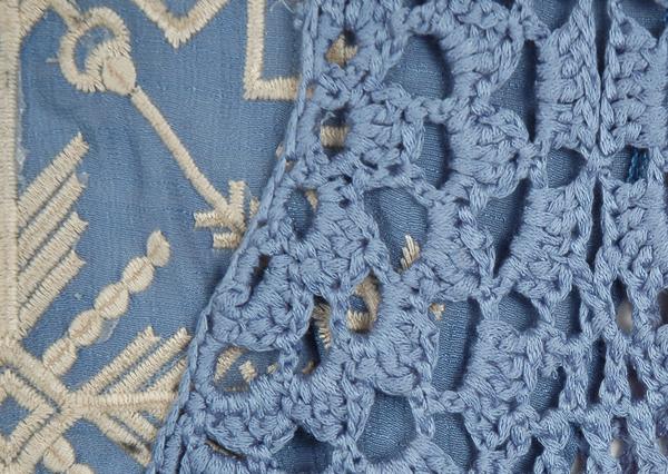 Kashmir Blue Fringe Crochet Long Sleeveless Vest