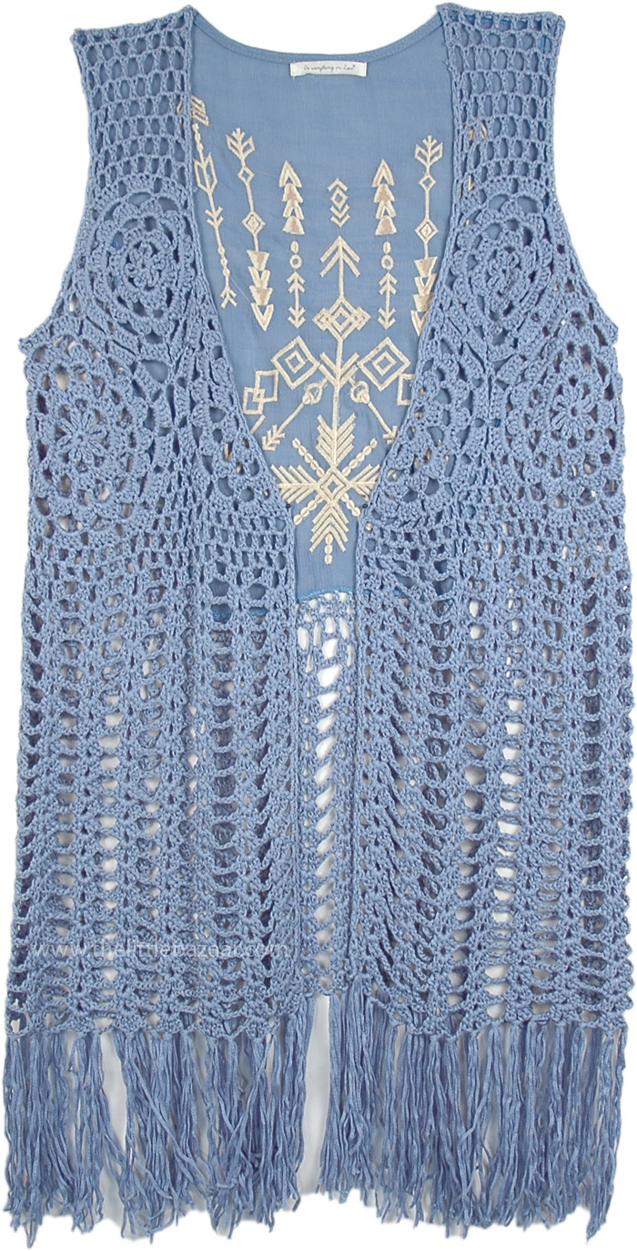 Kashmir Blue Fringe Crochet Long Sleeveless Vest Tunic Shirt