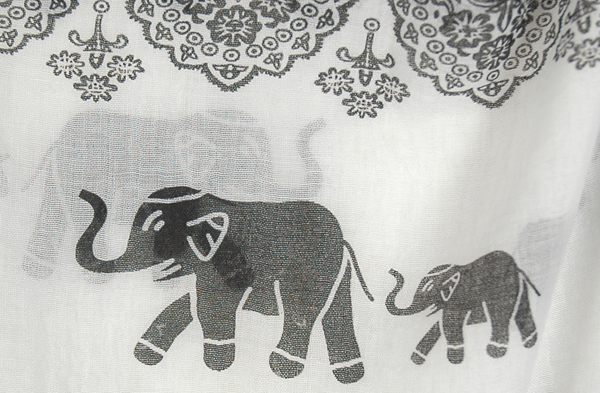 Designer Chic Elephant Block Print 7 Way Scarf