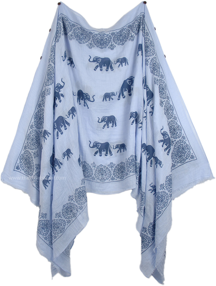 Ladies Ethnic Print Poly-Chiffon Seven Way Scarf Top, Elegant Elephant Short Drape Poncho in Pale Blue