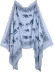 Elegant Elephant Short Drape Poncho in Pale Blue