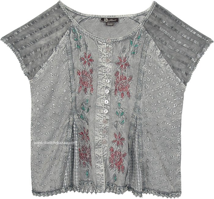 Steel Grey Medieval Style Short Top with Embroidery