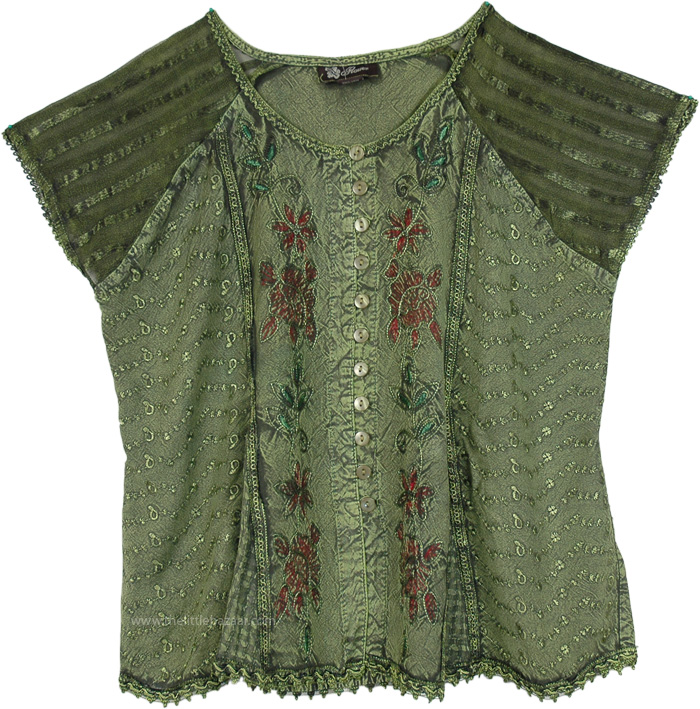 Easy Breezy Short Top Vintage Charm, Celtic Inspired Button Down Top in Green