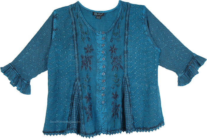Multi Pattern Summer Button Down Teal Top , Embroidered Medieval Vintage Sleeve Top in Elm Blue