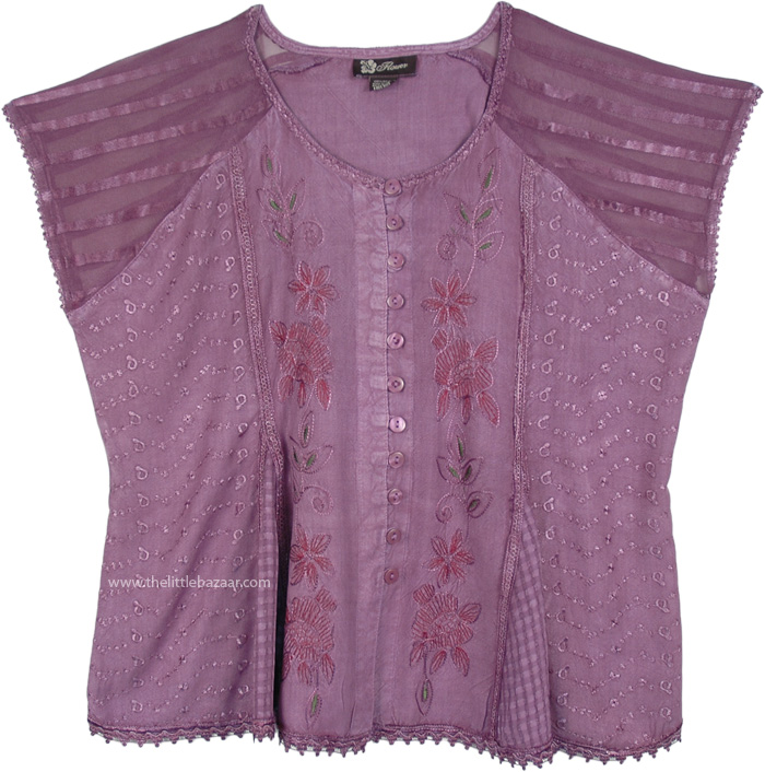 Lavender Medieval Style Short Top with Embroidery