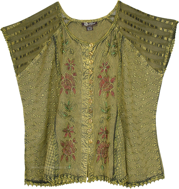 Easy Breezy Short Top Vintage Charm, Shadow Green Floral Medieval Top