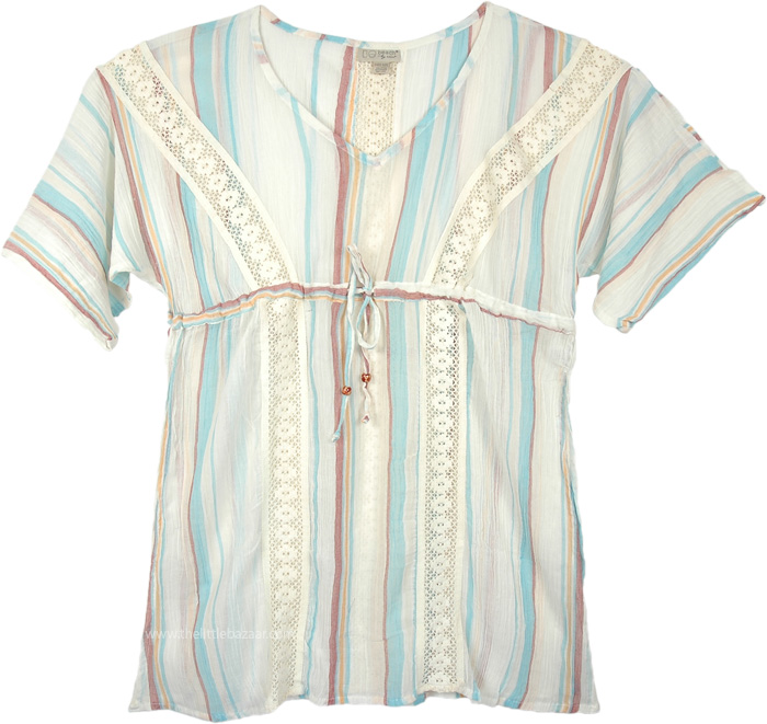 Summer Stripes Tunic Style Beach Cover Up Cotton
