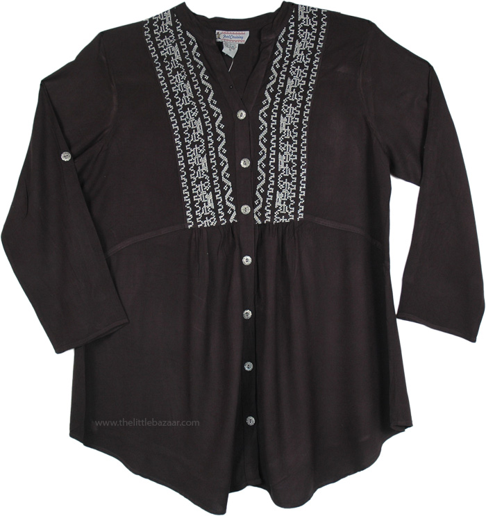 Black Tunic Shirt with Buttons, Black Shirt Style Tunic with Cross Stitch Embroidery