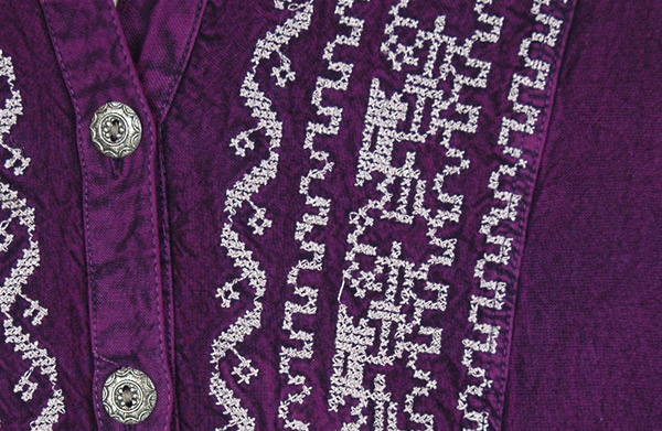 Everyday Purple Boho Shirt Top with Embroidery