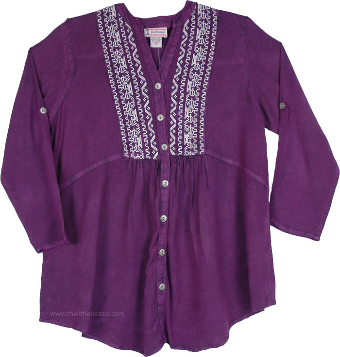 Purple Tunic Shirt with Buttons, Everyday Purple Boho Shirt Top with Embroidery