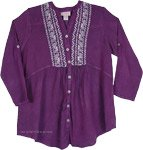Purple Tunic Shirt with Buttons [4909]