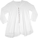 Semi Sheer Pure White Cotton Tunic Top with Buttons