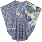 Lynch Blue Floral Womens Poncho Cotton Top Cover Up with Sequins